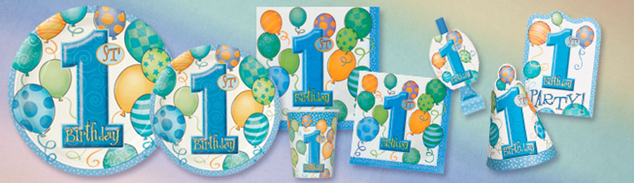 FirstBirthdayBalloonsBlueBanner